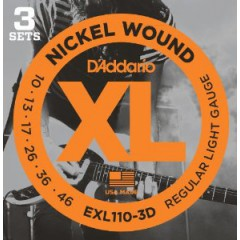 D'ADDARIO - '3 JEU ELEC XL REG LIGHT 10-46